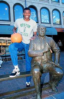 Reggie with the Red Auerbach Statue